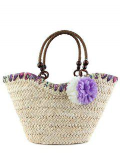 Flowers Straw  Weaving Tote Bag - Purple
