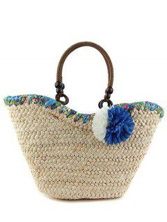 Flowers Straw  Weaving Tote Bag - Blue