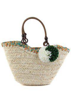 Flores De Paja Bolsa De Asas Weaving - Verde