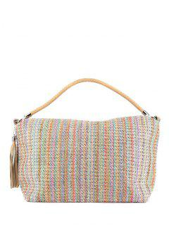 Tassel Colorful Stripes Weaving Shoulder Bag