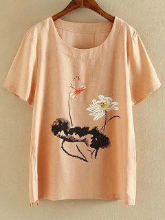 Más El Tamaño De Cuello Redondo Manga Corta De Tinta Lotus Camiseta Con Estampado - Rosado Claro 2xl