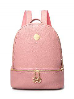 PU Leather Zips Solid Color Satchel - Pink