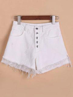 Button Fly Ripped Rough Selvedge Denim Shorts - White S
