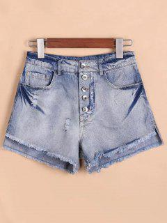 Button Fly Ripped Rough Selvedge Denim Shorts - Denim Blue S