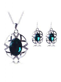 Hollow Out Jewelry Pendant Necklace And Earrings - Green