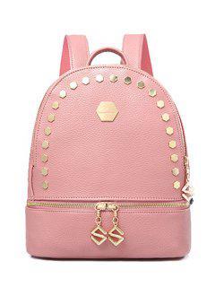 Solid Color Metallic Zips Satchel - Pink