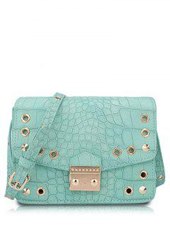 Eyelet Crocodile Print Candy Color Crossbody Bag - Light Green