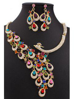 Colorful Rhinestone Peacock Necklace And Earrings - Golden