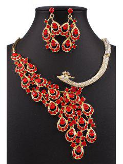 Fake Ruby Peacock Necklace And Earrings - Red