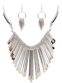 Alloy Tassel Necklace And Earrings - Silver