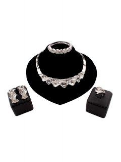 Rhinestone Wavy Necklace Ring Bracelet Earrings - Silver