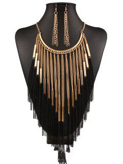 Long Tassel Necklace And Earrings - Golden