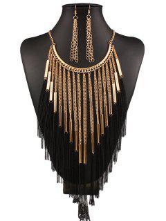 Collar Y Pendientes De La Borla Larga - Dorado