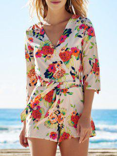 Cross-Over Con Cinturón Y Estampado Floral Playsuit - S