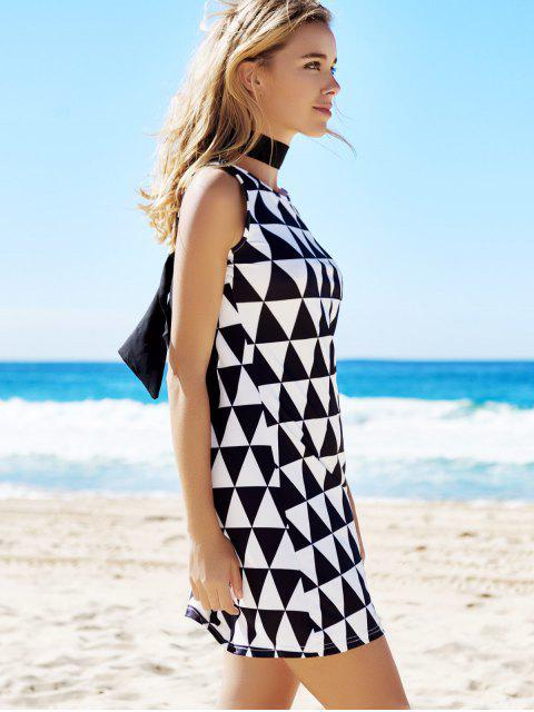 shop Geometric Print Round Neck Sleeveless Dress - BLACK S Mobile