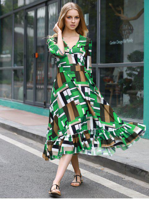 hot Ruffle Swingy Midi Dress - COLORMIX XL Mobile