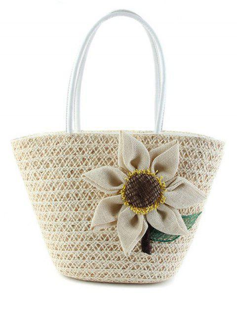 hot Sunflower Solid Color Weaving Shoulder Bag - WHITE  Mobile