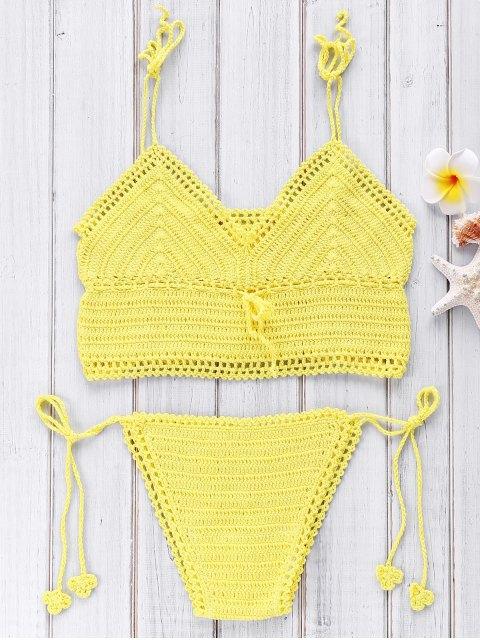 women Crocheted Spaghetti Straps Bikini Set - YELLOW ONE SIZE(FIT SIZE XS TO M) Mobile