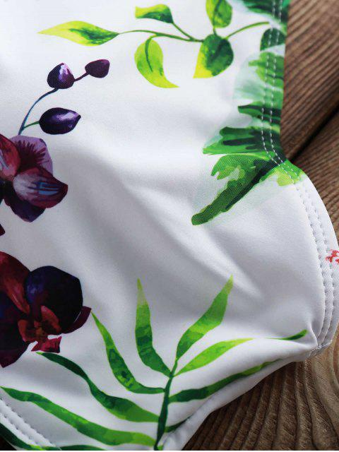 outfit Flowers Print High Neck Bikini Set - WHITE L Mobile