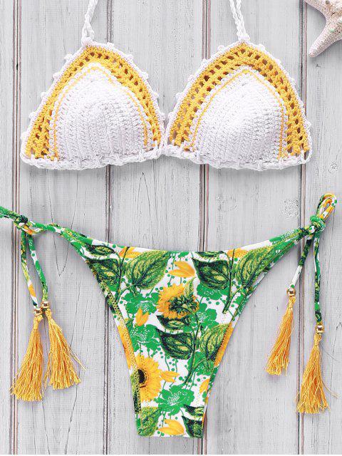 Printed Gehäkelte Bikini Set - Weiß Einheitsgröße(Geeign Mobile