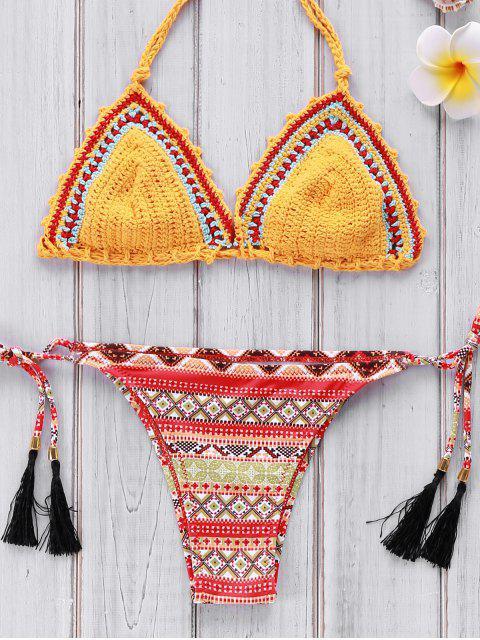 lady Geometric Print Crocheted Bikini Set - YELLOW M Mobile