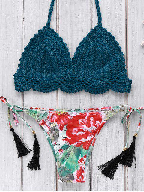 fancy Crocheted Halter Printed Bikini Set - BLUE M Mobile
