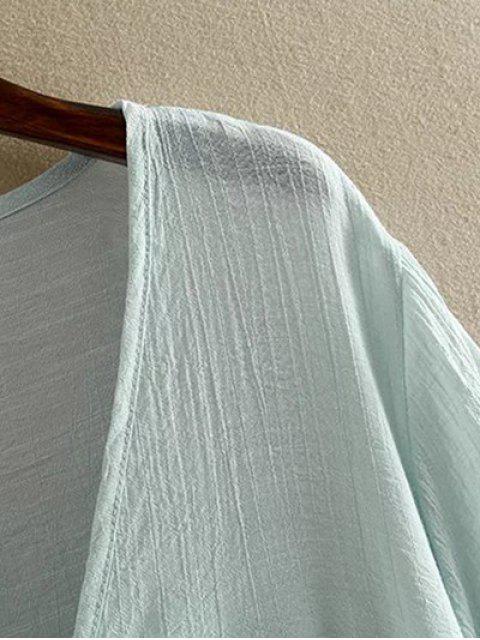 shops Irregular Hem V Neck Short Sleeve Coat - PINK 3XL Mobile