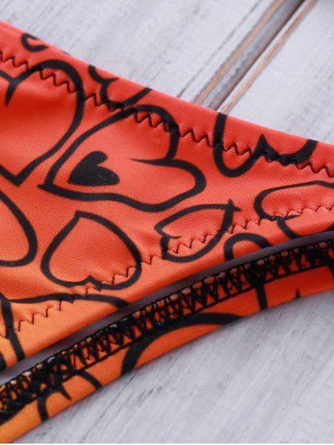 fashion Heart Print Crocheted Bikini Set - PURPLISH BLUE M Mobile