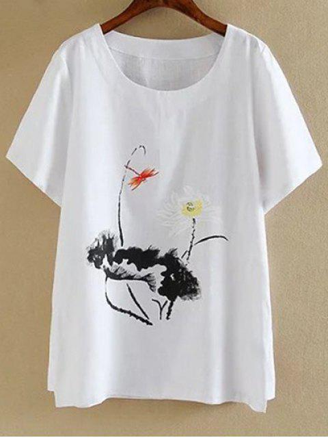 hot Plus Size Round Neck Short Sleeve Ink Lotus Print T-Shirt - WHITE 3XL Mobile