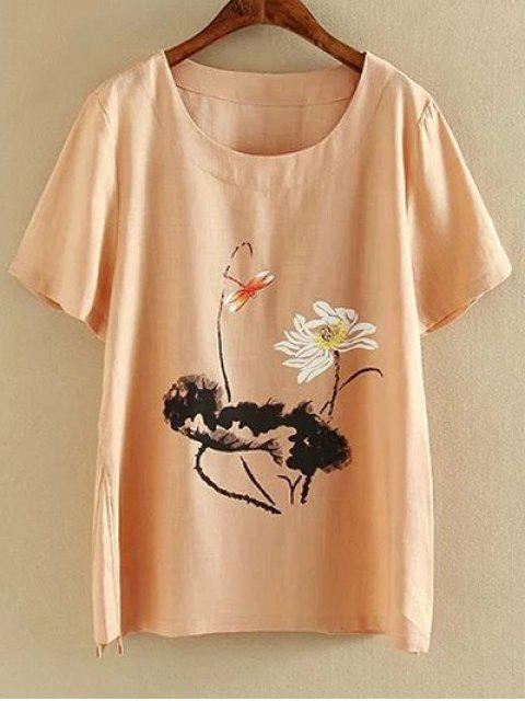 outfits Plus Size Round Neck Short Sleeve Ink Lotus Print T-Shirt - SHALLOW PINK 5XL Mobile