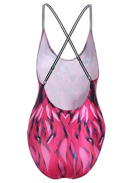latest Alluring Spaghetti Strap Feather Print Women's Swimwear - ROSE S Mobile