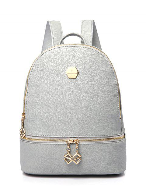 shop PU Leather Zips Solid Color Satchel - GRAY  Mobile