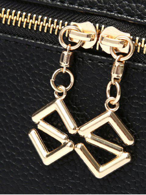 shops PU Leather Zips Solid Color Satchel - BLACK  Mobile