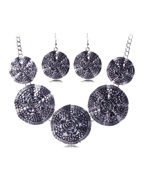 ladies Rose Carve Round Necklace and Earrings - SILVER  Mobile