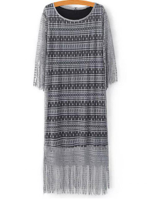 new Black Scoop Neck Tank Top and Tassels Spliced Lace Dress Twinset - LIGHT GRAY L Mobile