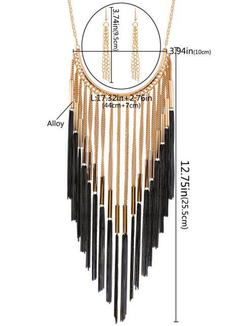 lady Long Tassel Necklace and Earrings - GOLDEN  Mobile