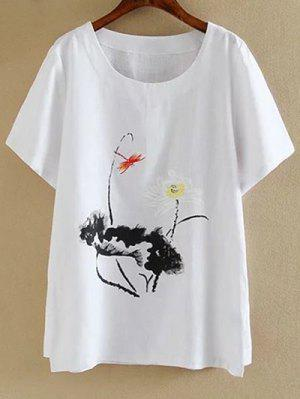 Plus Size Round Neck Short Sleeve Ink Lotus Print T-Shirt - White 3xl