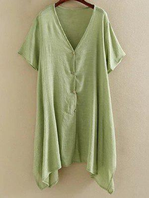Irregular Hem V Neck Short Sleeve Coat - Green Xl