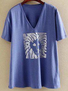 Plus Size V-cou à Manches Courtes T-shirt Hot Platinum - Bleu 2xl