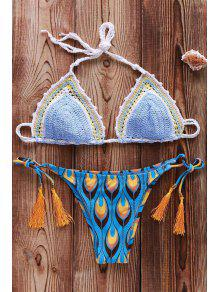 Imprimé Crocheté Bikini - Azur M