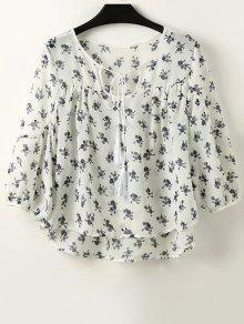 Buy Full Tiny Floral Half Sleeve Blouse - WHITE M