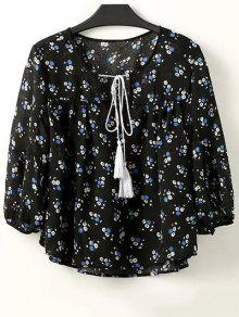 Full Tiny Floral Half Sleeve Blouse - Black M