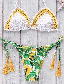 Imprimé Crocheté Bikini - Blanc