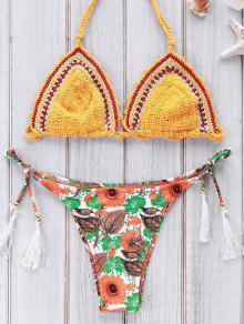 Printed Crocheted Bikini Set - Yellow M