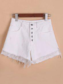 Button Fly Ripped Rough Selvedge Denim Shorts - White 2xl