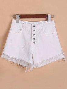 Mosca Del Botón Rasgados Pantalones Cortos De Mezclilla Orillo áspero - Blanco S