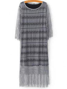 Black Scoop Neck Tank Top And Tassels Spliced Lace Dress Twinset - Light Gray L
