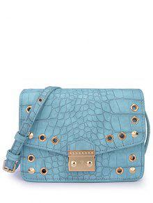 Buy Eyelet Crocodile Print Candy Color Crossbody Bag - BLUE