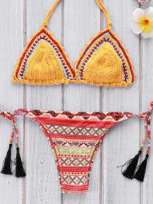 Geometric Print Crocheted Bikini Set - Yellow M