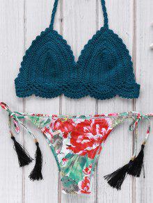 Crocheté Halter Imprimé Ensemble Bikini - Bleu M
